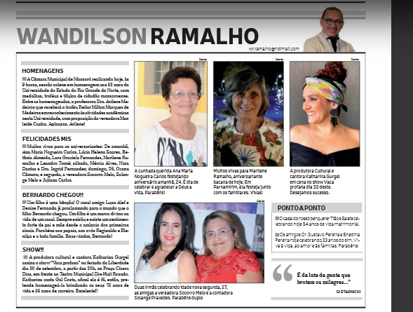EIS A COLUNA DE WANDILSON RAMALHO-JORNAL DE FATO !
