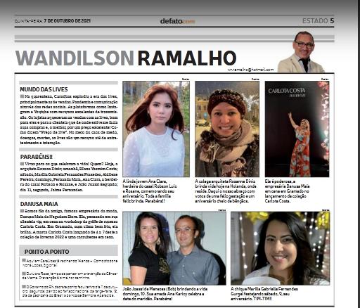 EIS A COLUNA DE WANDILSON RAMALHO -JORNAL DE FATO